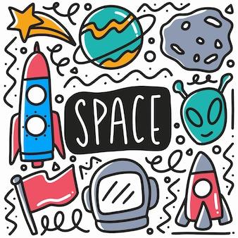 Conjunto de doodle de preenchimento de espaço desenhado à mão com ícones e elementos de design