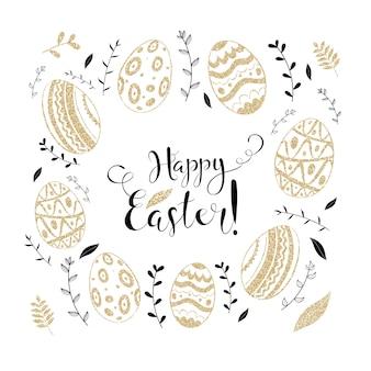 Conjunto de doodle de primavera de dia de páscoa