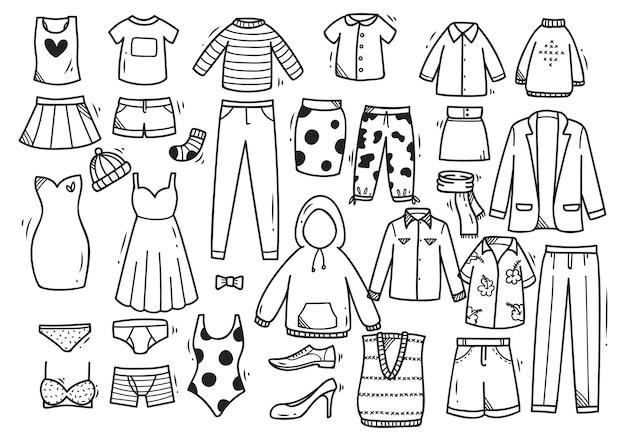 Conjunto de doodle de roupa desenhada de mão isolado no fundo branco