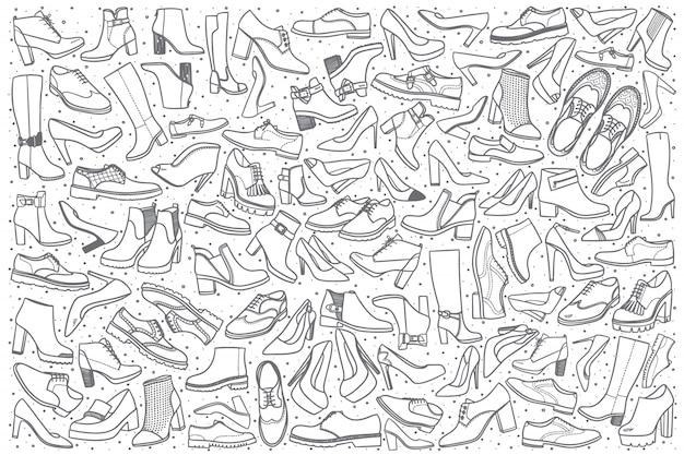 Conjunto de doodle de sapatos desenhados à mão