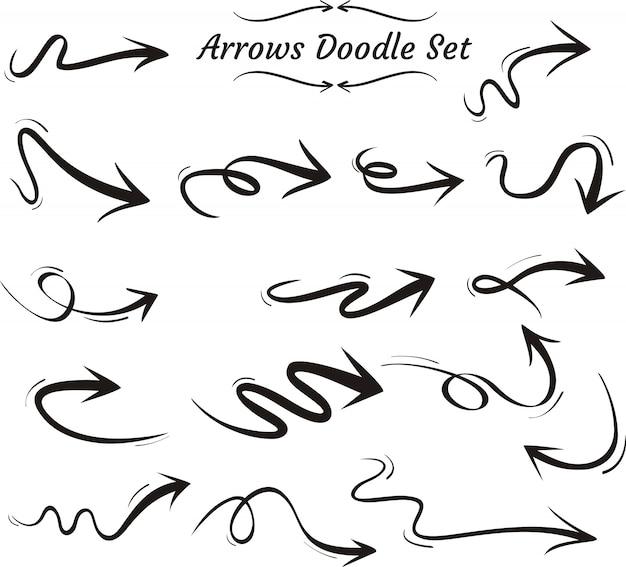 Conjunto de doodle de seta
