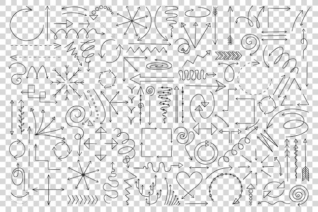 Conjunto de doodle de setas.