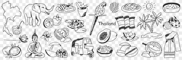 Conjunto de doodle de símbolos culturais da tailândia