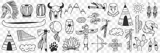 Conjunto de doodle de símbolos de tribos indígenas