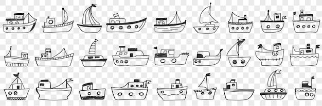 Conjunto de doodle de sortimento de barcos e navios