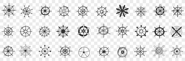 Conjunto de doodle de sortimento de volante