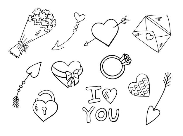 Conjunto de doodle de stvalentines day