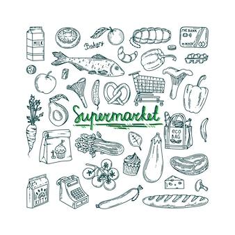 Conjunto de doodle de supermercado para supermercado coleção de contorno de supermercado com comida