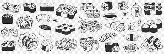 Conjunto de doodle de sushi e rolos