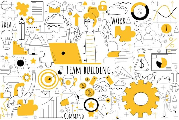 Conjunto de doodle de team building. coleção de rabiscos desenhados à mão.