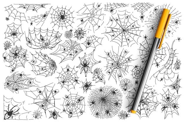 Conjunto de doodle de teia de aranha.