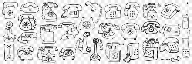 Conjunto de doodle de telefone.
