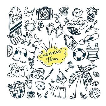 Conjunto de doodle de verão. esportes aquáticos, relaxamento e objetos de férias tropicais. ilustração vetorial