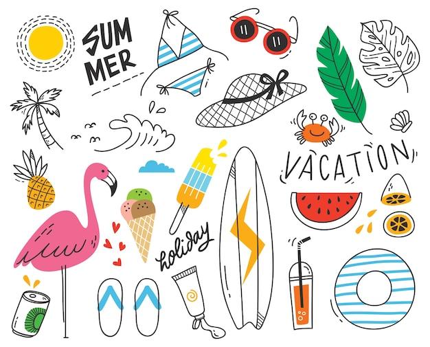 Conjunto de doodle de verão no fundo branco