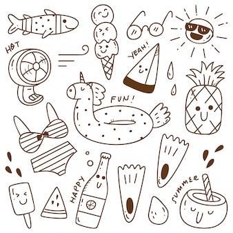 Conjunto de doodle de verão