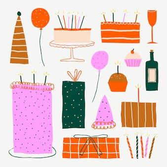Conjunto de doodle de vetor de adesivos fofos para celebração de aniversário