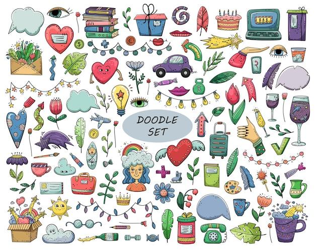 Conjunto de doodle de vetor de mão desenhada.