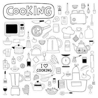 Conjunto de doodle de vetor de utensílios de cozinha