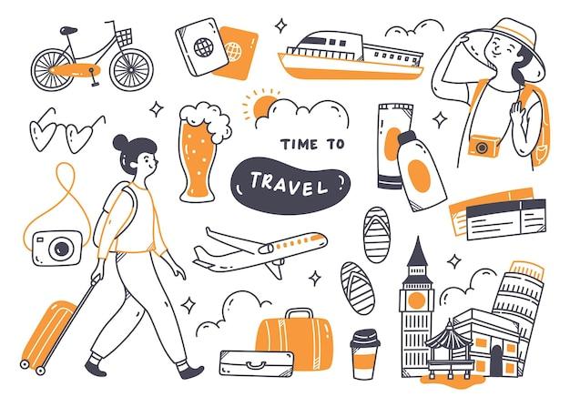 Conjunto de doodle de viagem