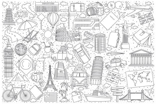 Conjunto de doodle de viagens