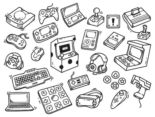 Conjunto de doodle de videogame