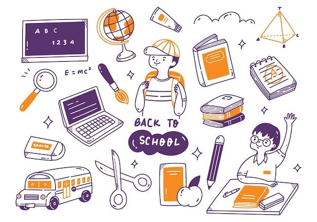 Conjunto de doodle de volta às aulas