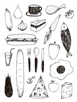 Conjunto de doodle desenhado à mão, comida preta e branca
