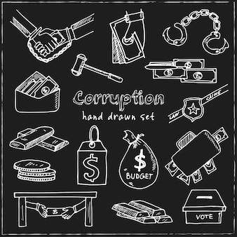 Conjunto de doodle desenhado à mão de corrupção