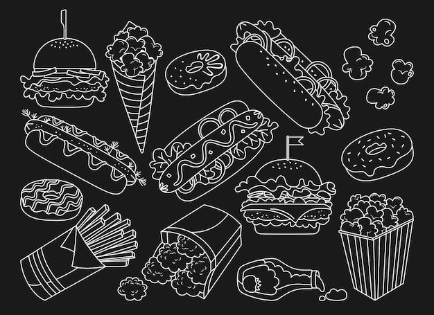 Conjunto de doodle desenhado à mão de fast-food donut cachorro-quente hambúrguer nuggets de batata ícones de coleção de ketchup e pipoca bebida de cheeseburger elementos de decoração de fundo preto para a barra de menu do café