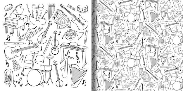 Conjunto de doodle desenhado à mão e padrão sem emenda com instrumentos musicais e objetos