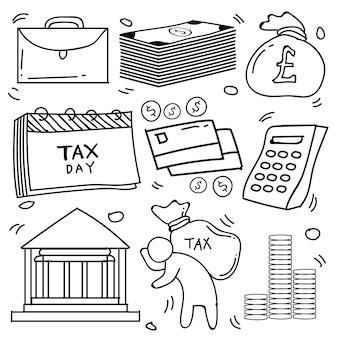 Conjunto de doodle desenhado à mão negócios e impostos, ícones de finanças coleção de doodle de tema em fundo branco isolado
