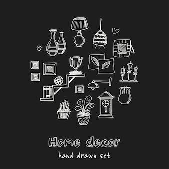 Conjunto de doodle desenhado à mão para decoração de casa