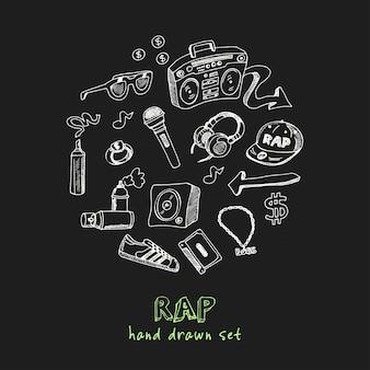 Conjunto de doodle desenhado à mão rap
