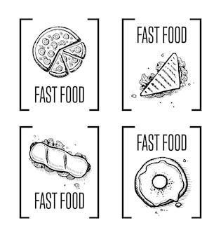 Conjunto de doodle desenhado mão fast-food