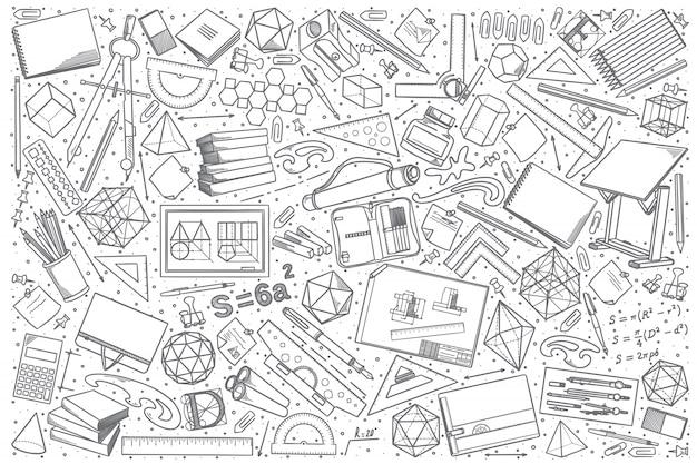 Conjunto de doodle desenho mão desenhada