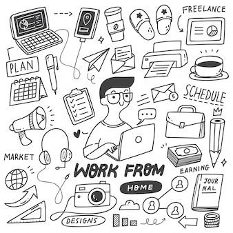 Conjunto de doodle do conceito de trabalho em casa