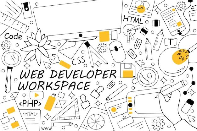 Conjunto de doodle do espaço de trabalho do desenvolvedor da web. coleção de rabiscos desenhados à mão.