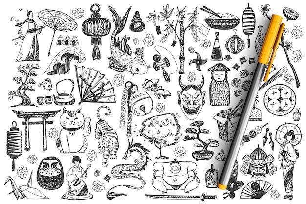 Conjunto de doodle do japão.