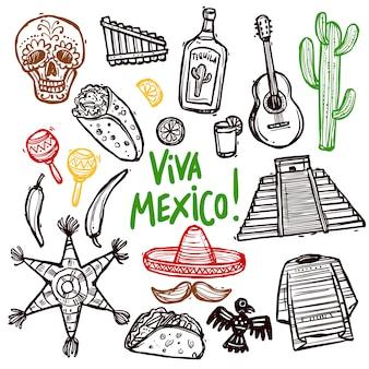 Conjunto de doodle do méxico
