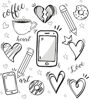 Conjunto de doodle em fundo branco
