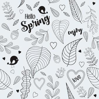 Conjunto de doodle em fundo cinza