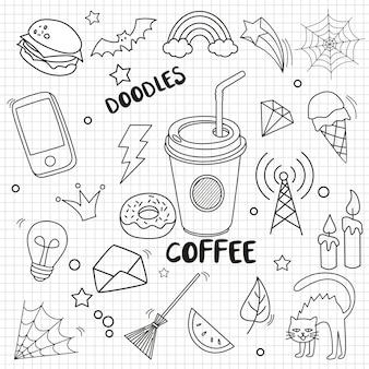 Conjunto de doodle em fundo de papel