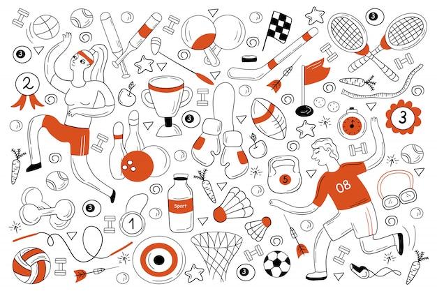 Conjunto de doodle esportivo