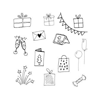 Conjunto de doodle fofo de caixas de presente de natal, calendário, copos de balão de ícones de fogos de artifício de champanhe