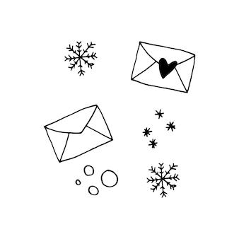 Conjunto de doodle fofo de ícones de envelope e flocos de neve. ilustração em vetor desenhada à mão