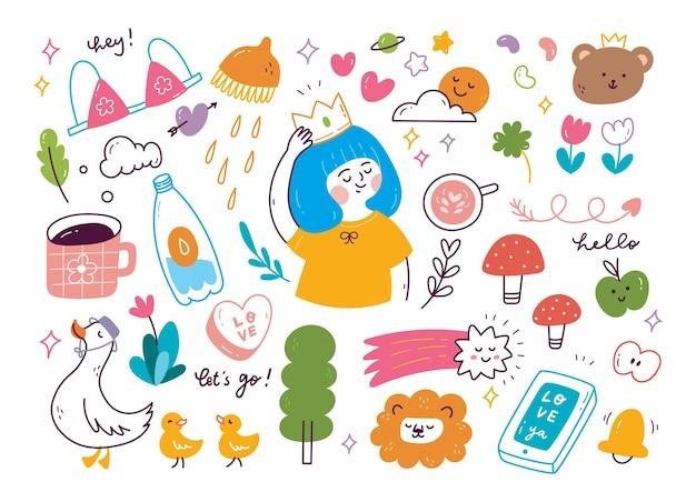 Conjunto de doodle fofo desenhado à mão