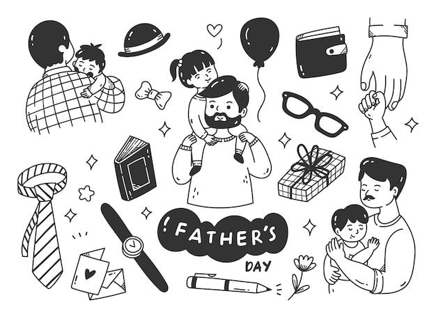 Conjunto de doodle fofo do dia dos pais