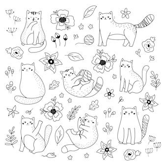Conjunto de doodle gatos e flores