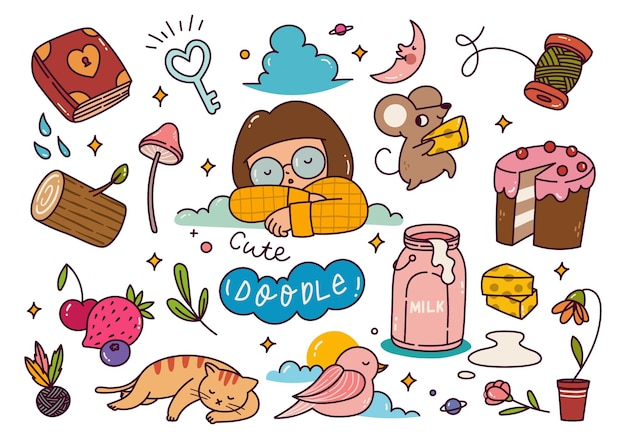 Conjunto de doodle kawaii desenhado à mão
