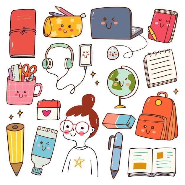 Conjunto de doodle kawaii material escolar